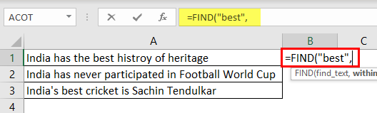 Search For Text Excel Example 1-2