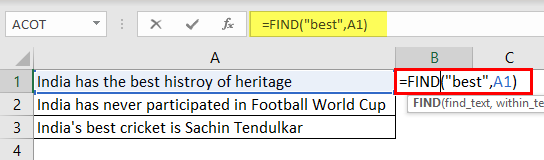 Search For Text Excel Example 1-3