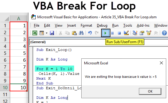VBA Break For Loop
