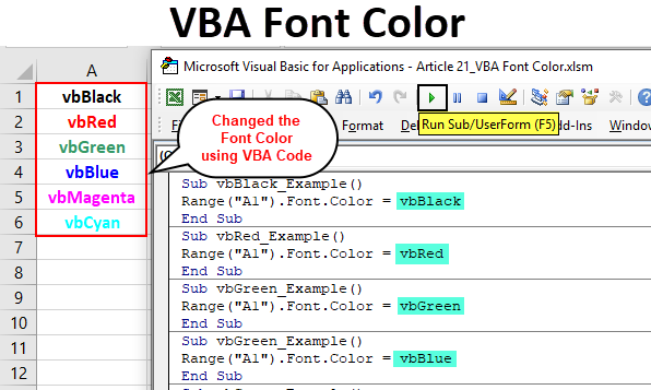 VBA Font Color | How to Change Font Color in Excel VBA?(with ...
