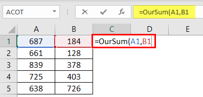 User Defined Function in Excel VBA Example 1-6