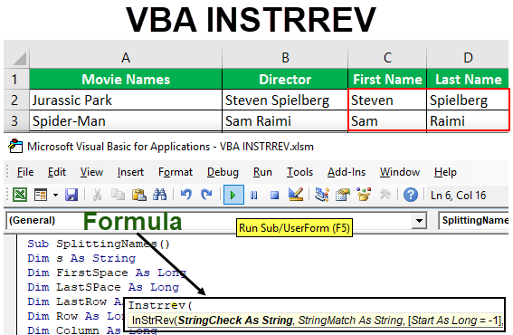 VBA INSTRREV Function