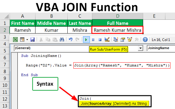 VBA Join | Step-by-Step Examples of Excel VBA Join Function