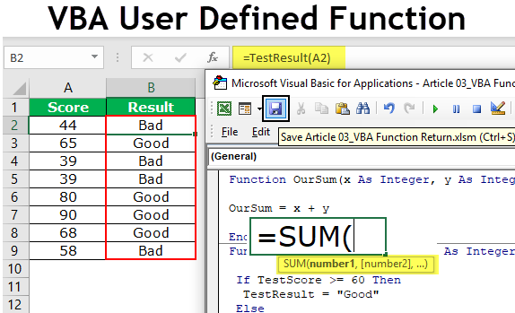 User Defined Function in Excel VBA