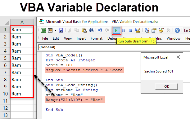 VBA Variable Declaration | How to Declare a Variable in VBA ...