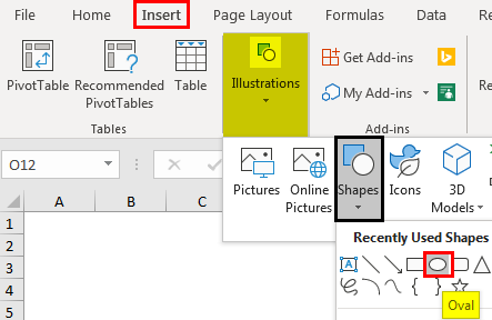 Insert tab - click on Illustrations and select shapes