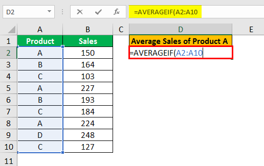 averageif function example 1.2