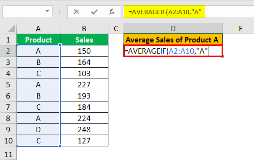 averageif function example 1.3