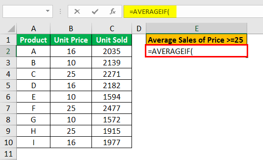 averageif function example 2.2