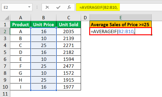 averageif function example 2.3