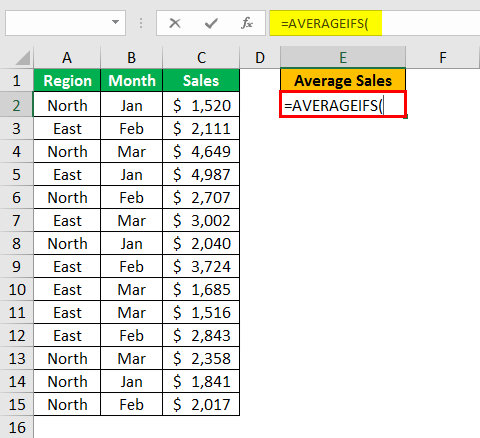 AVERAGEIFS Function in Excel example 1.2