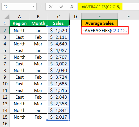 AVERAGEIFS Function in Excel example 1.3