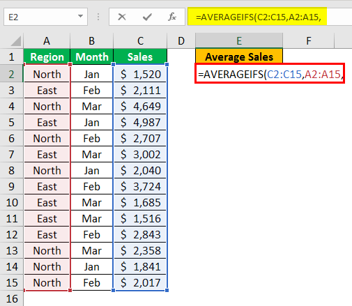 AVERAGEIFS Function in Excel example 1.4