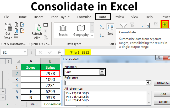 consolidating data excel