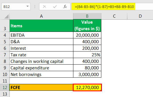free cash flow from EBITDA example 1.1