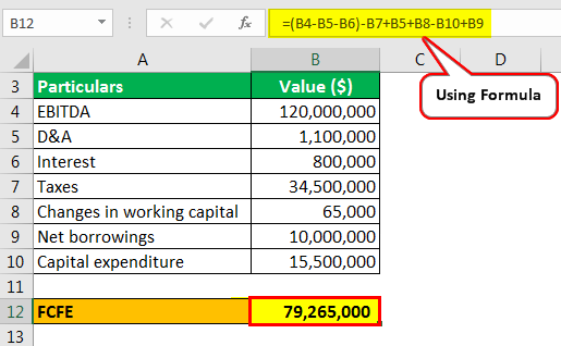 free cash flow from EBITDA example 2.2