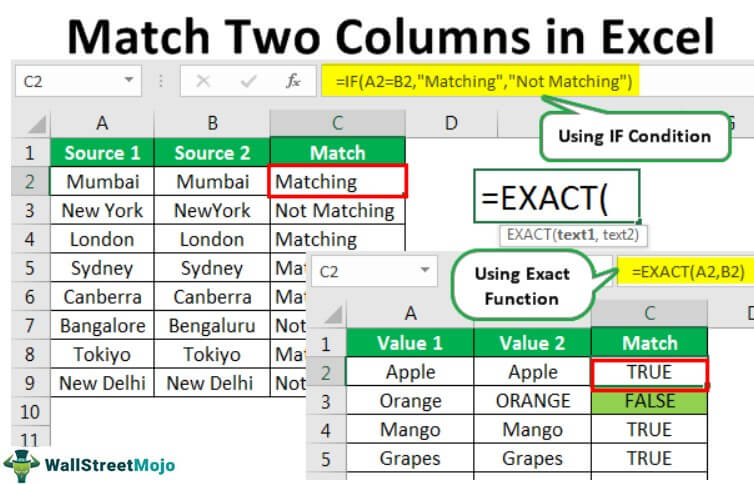 Compare and Match Columns in Excel