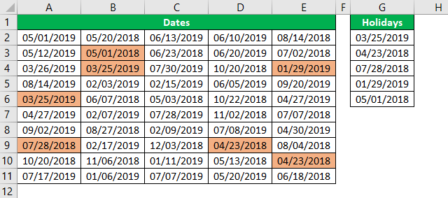 Conditional Formatting for Dates Example 1.19