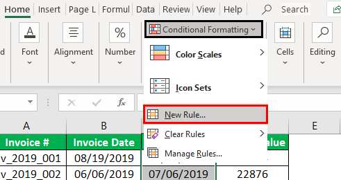 Conditional Formatting for Dates Example 1.2