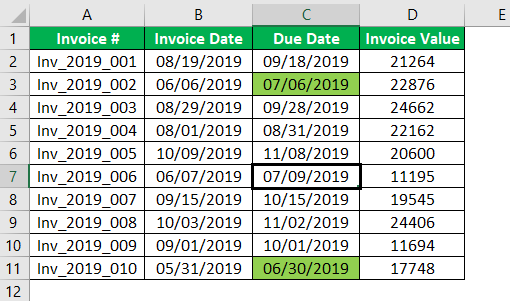 Conditional Formatting for Dates Example 1.8