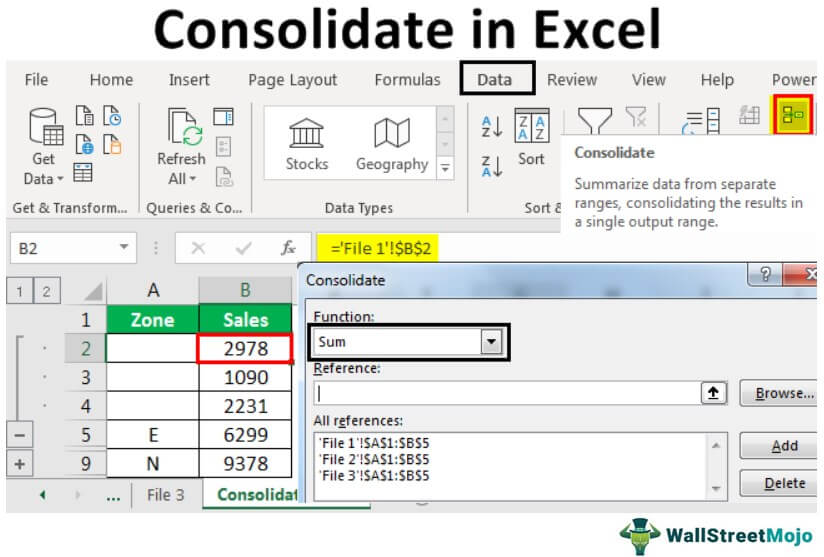 Consolidate Function in Excel
