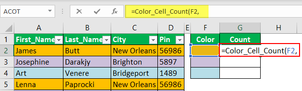 Count Cells using VBA Code 1-3