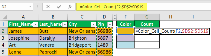 Count Cells using VBA Code 1-4