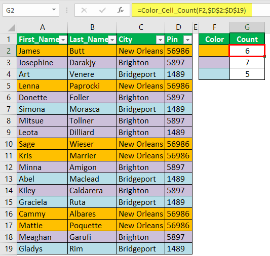 Count Cells using VBA Code 1-5