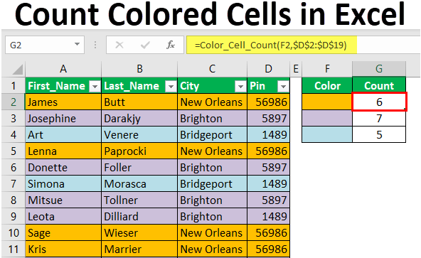 Count Colored Cells in Excel