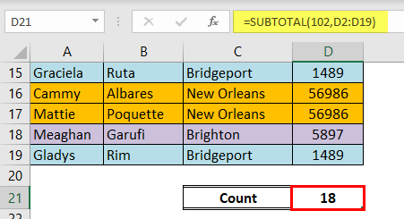 Count colored cells excel example 1-2