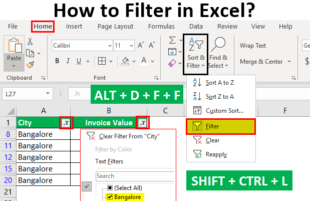 How to Filter in Excel 1