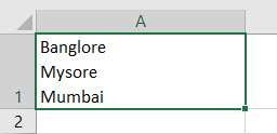 New Line in Excel Cell Method 1-1