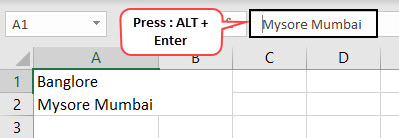 New Line in Excel Cell Method 1-3