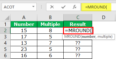 MROUND in Excel Example 1-1