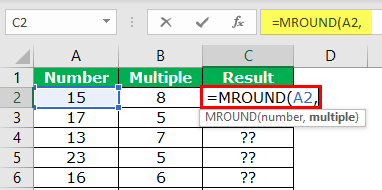 MROUND in Excel Example 1-2