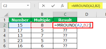 MROUND in Excel Example 1-3