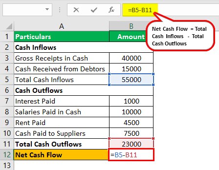 Net Cash Flow Formula Example 2.3