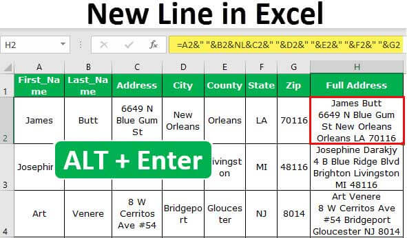 New Line in Excel Cell