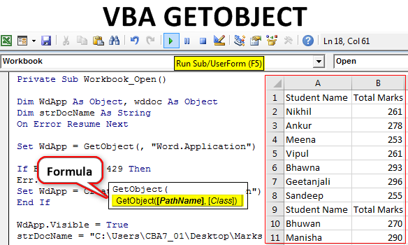 VBA GETOBJECT