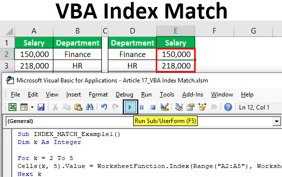 VBA Index Match | How to Use Index Match Function in VBA ...
