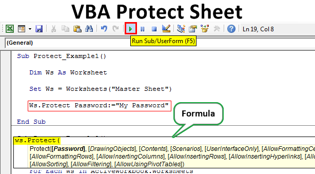 VBA Protect Sheet | How to Password Protect Worksheet with ...