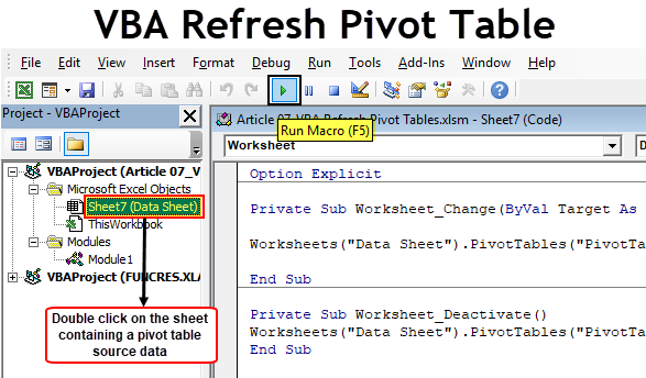 VBA Refresh Pivot Table