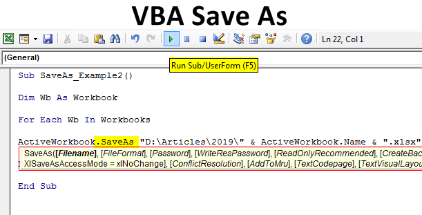 VBA Save As