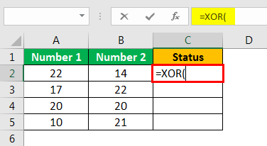 XOR in Excel Example 1.2