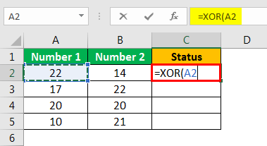 XOR in Excel Example 1.3