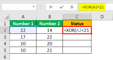 XOR in Excel Example 1.4