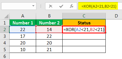 XOR in Excel Example 1.5