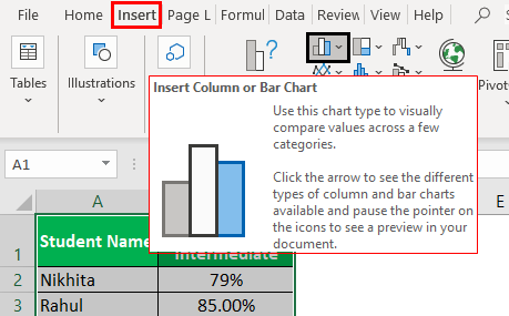 Bar Chart in Excel Example 1.2
