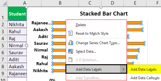 Bar Chart in Excel Example 1.6