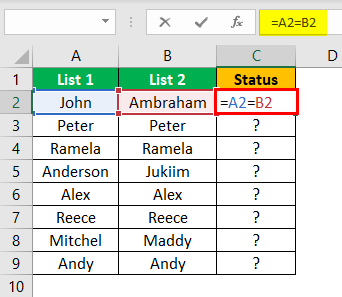 Compare Two Lists in Excel Example 1.2
